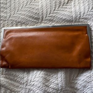 Honey Brown Leather Hobo Clutch